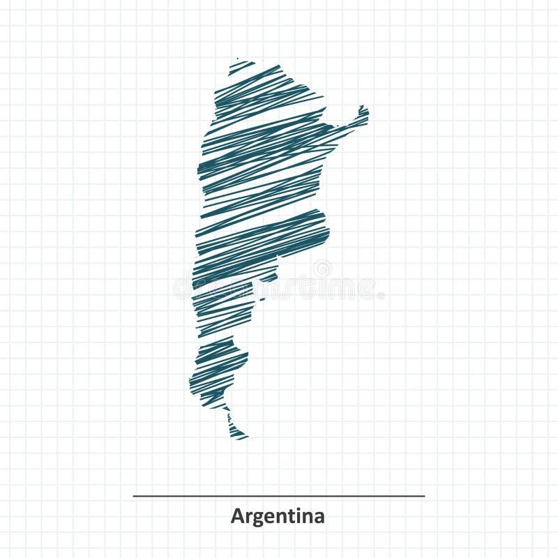 Эскиз Doodle карты Аргентины иллюстрация вектора
