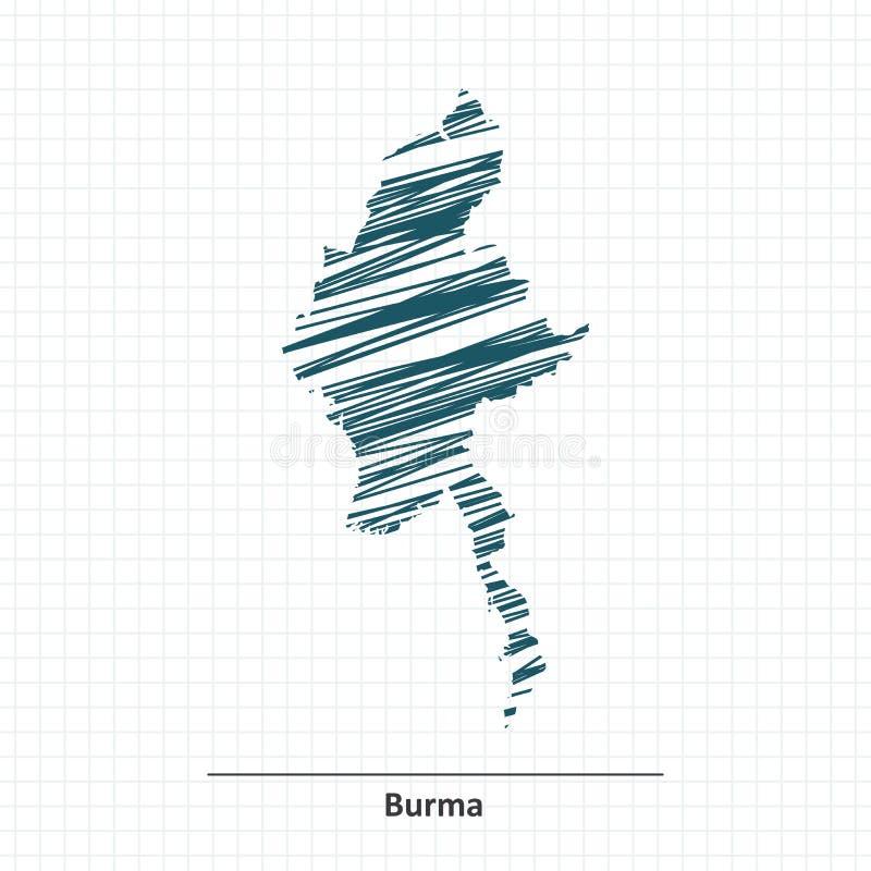 Эскиз Doodle карты Бирмы иллюстрация штока