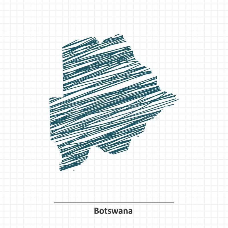 Эскиз Doodle карты Ботсваны бесплатная иллюстрация