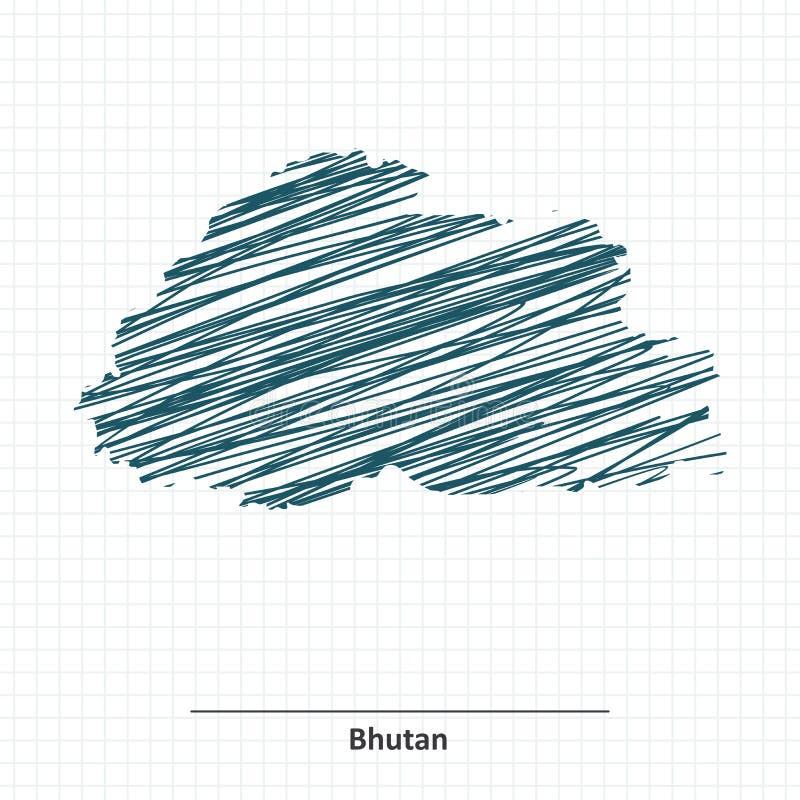 Эскиз Doodle карты Бутана бесплатная иллюстрация