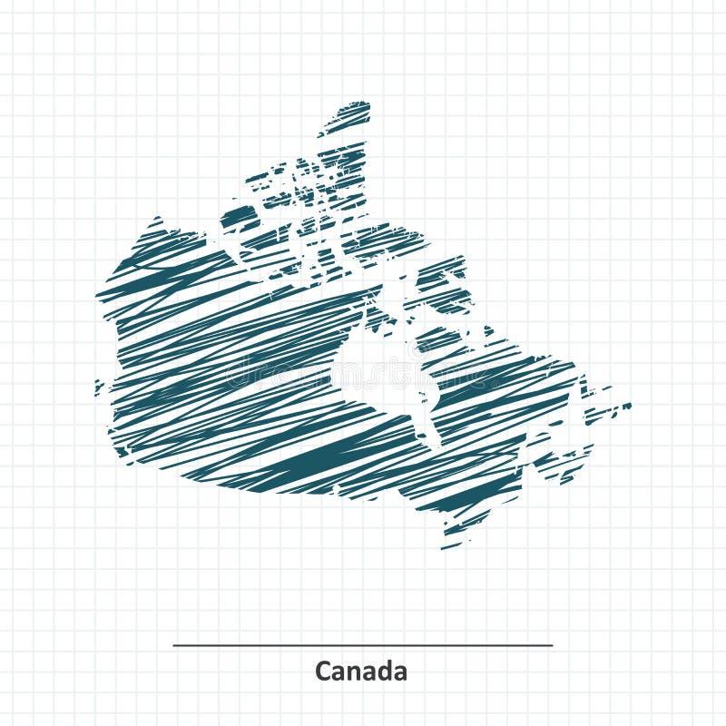 Эскиз Doodle карты Канады бесплатная иллюстрация