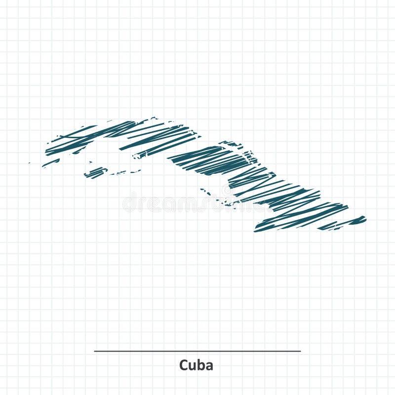 Эскиз Doodle карты Кубы иллюстрация штока