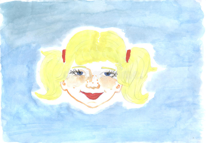 эскиз redhead девушки стороны иллюстрация вектора