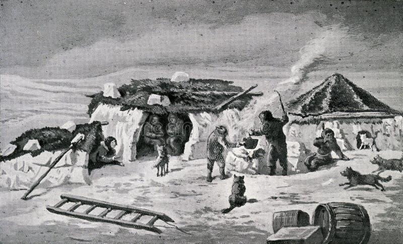 Эскимосский лагерь в Полярном круге иллюстрация вектора