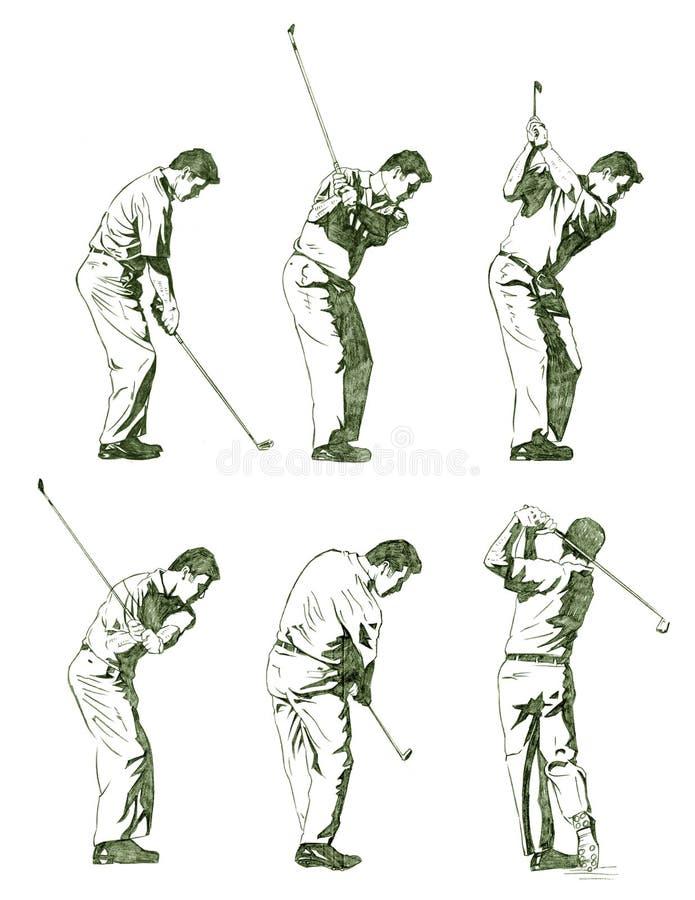 этапы иллюстрации гольфа показанные игроком бесплатная иллюстрация