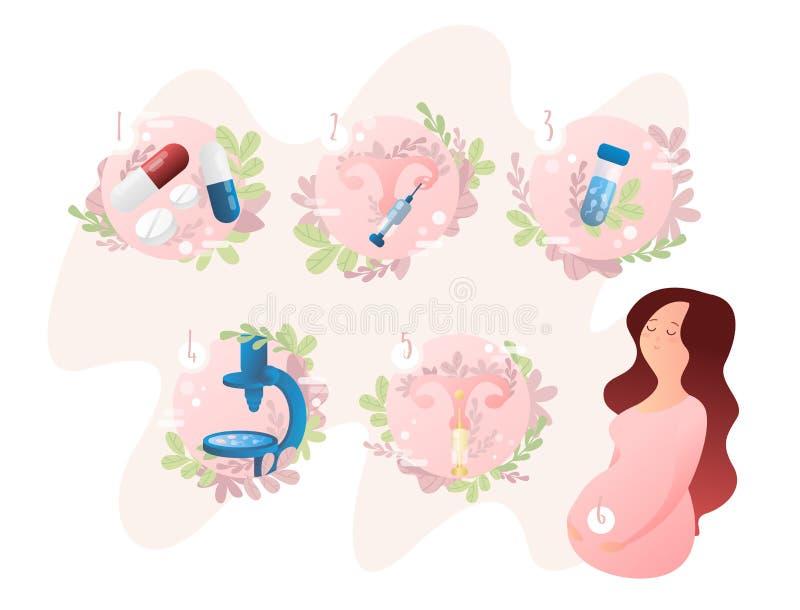 Этапы искусственного оплодотворения IVF In vitro метод последовательных операций землеудобрения бесплатная иллюстрация