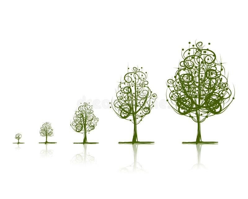 Этапы растущего дерева для вашего дизайна иллюстрация вектора