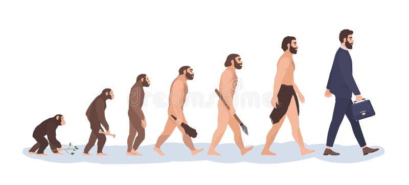 Этапы эволюции человека Эволюционный процесс и постепенно визуализирование развития от обезьяны или примата к бизнесмену иллюстрация вектора