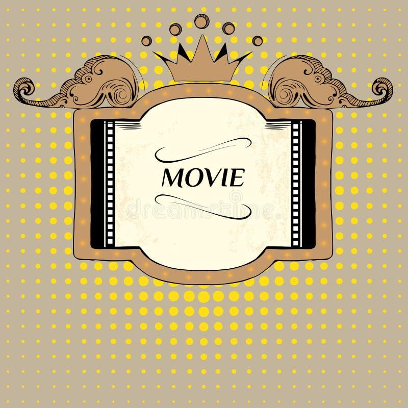 Этап вектора с пустой афишей фотоснимок кино шатёр дома дневного времени неоновый старый кино иллюстрация вектора