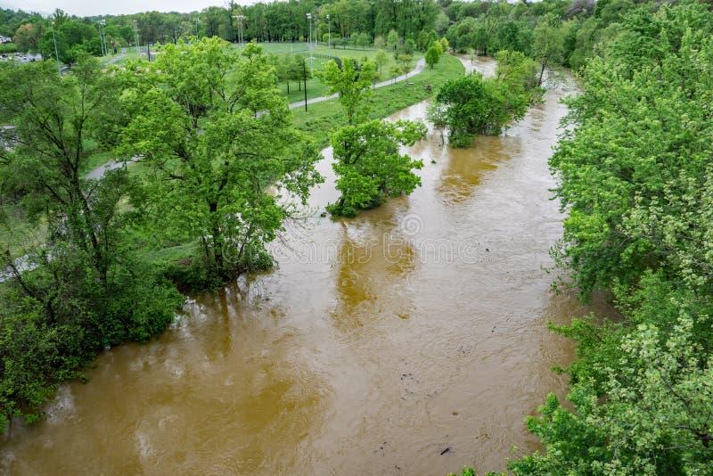 Этап потока реки Roanoke вышеуказанный стоковое фото