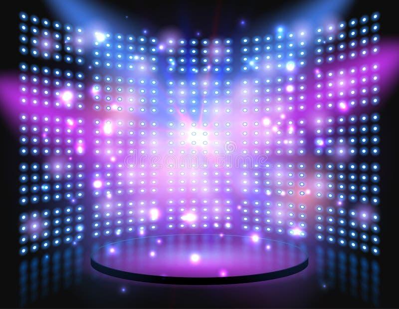 Этап представления с стеной фона лампочки накаляя иллюстрация штока