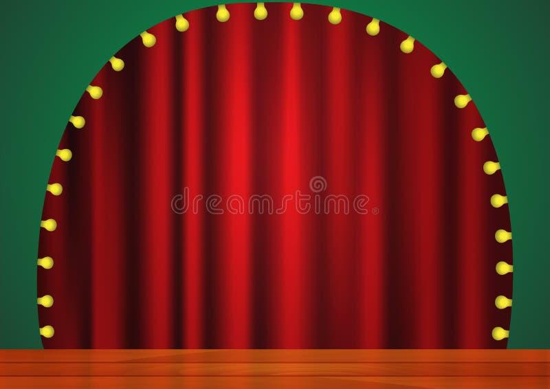 Этап с красным занавесом, светами и деревянным полом бесплатная иллюстрация
