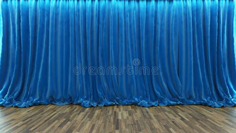 этап театра перевода 3d с голубым занавесом и деревянным полом бесплатная иллюстрация