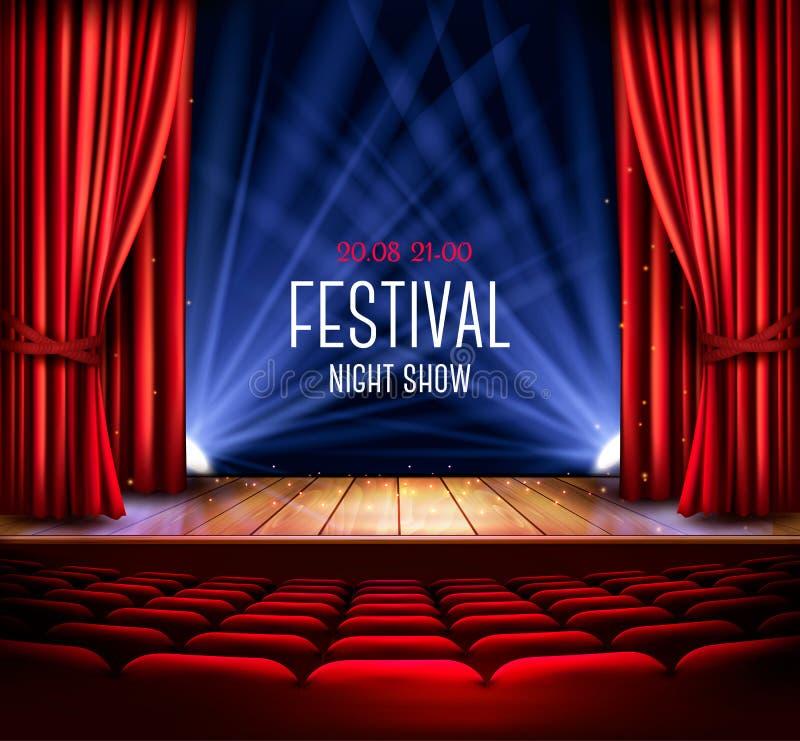 Этап театра с красным занавесом и фарой Nig фестиваля иллюстрация штока