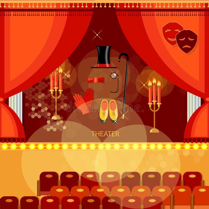 Этап театра с красным сценарием актеров залы театра занавеса иллюстрация штока