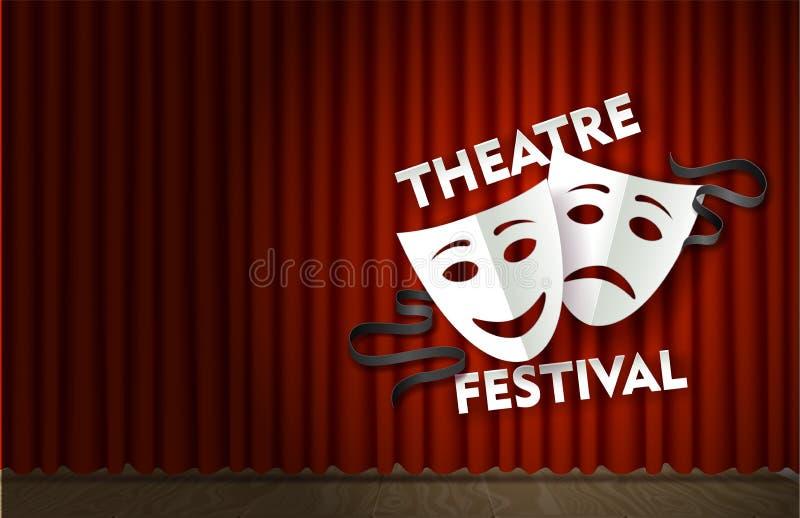 Этап фестиваля театра с красным шаблоном плаката вектора занавеса бархата бесплатная иллюстрация