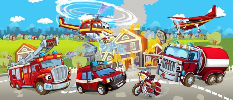 Этап шаржа с различными машинами для сцены firefighting красочной и жизнерадостной иллюстрация вектора
