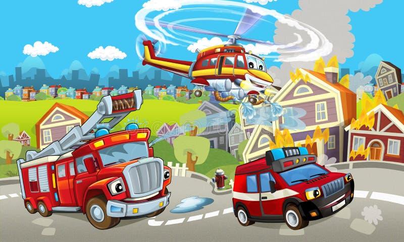 Этап шаржа с различными машинами для сцены firefighting красочной и жизнерадостной иллюстрация штока
