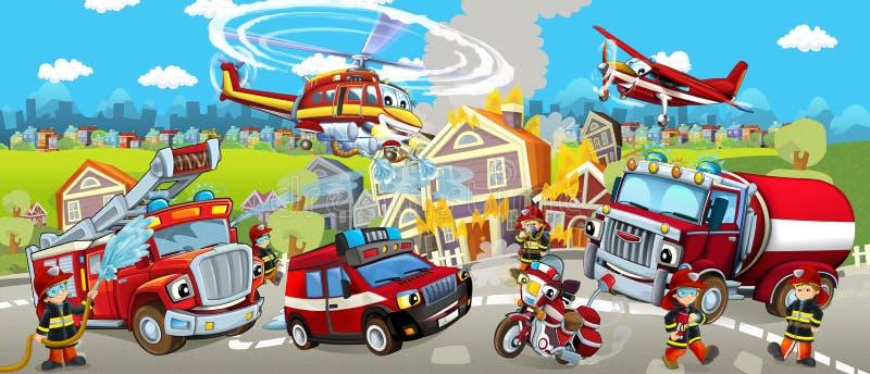 Этап шаржа с различными машинами для сцены firefighting красочной и жизнерадостной