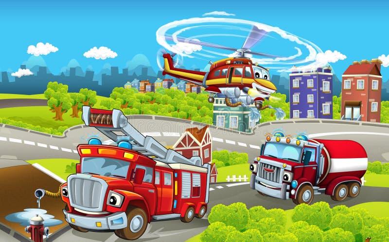 Этап шаржа с различными машинами для сцены firefighting - тележки и вертолет - красочной и жизнерадостной иллюстрация штока