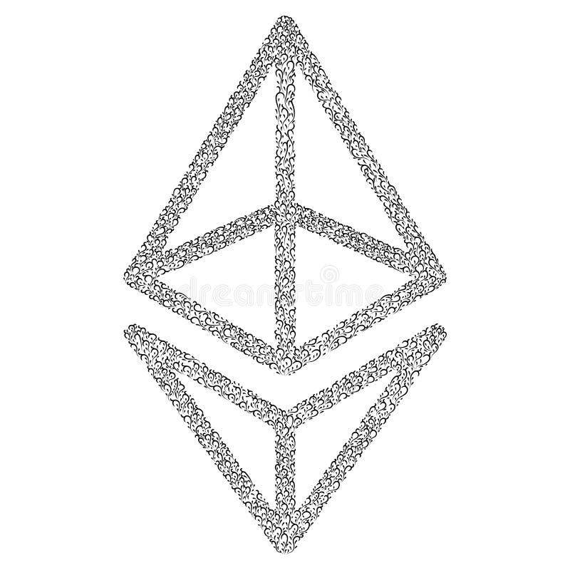 Этеумный каллиграфический знак Шифровать символы валюты и изображения монеты Защищенная криптокурентность на основе Blockcha Для  бесплатная иллюстрация