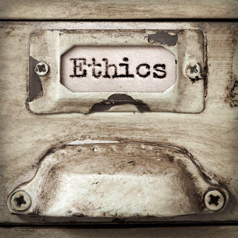 Этики слова на винтажном ярлыке ящика ящика для хранения карточк стоковое фото rf