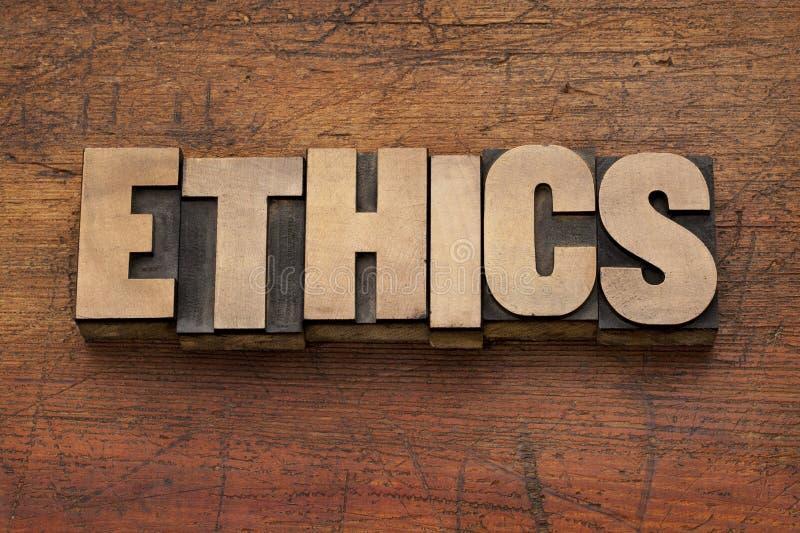 Этики формулируют в деревянном типе стоковое изображение