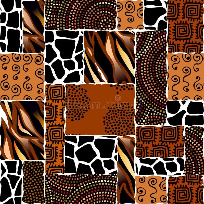 Этническая безшовная картина в африканском стиле иллюстрация штока