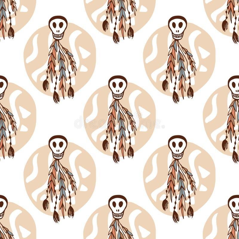 Этническая безшовная картина с черепами и элементами boho Африканская, племенная, индийская предпосылка текстуры также вектор илл иллюстрация вектора