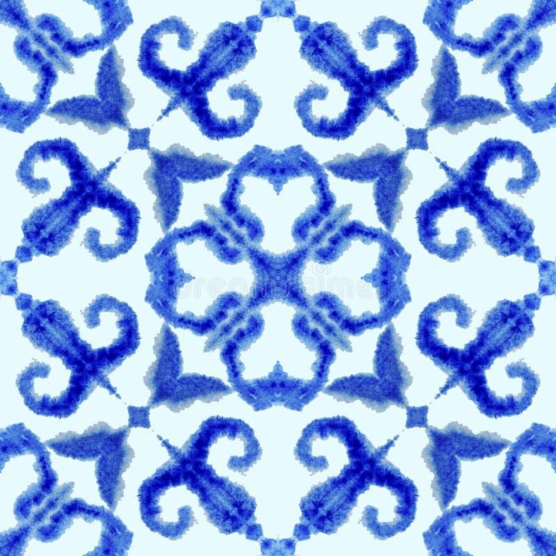 Этническая безшовная картина E Абстрактная связь батика покрасила ткань, красить Shibori Повторение предпосылки r иллюстрация штока