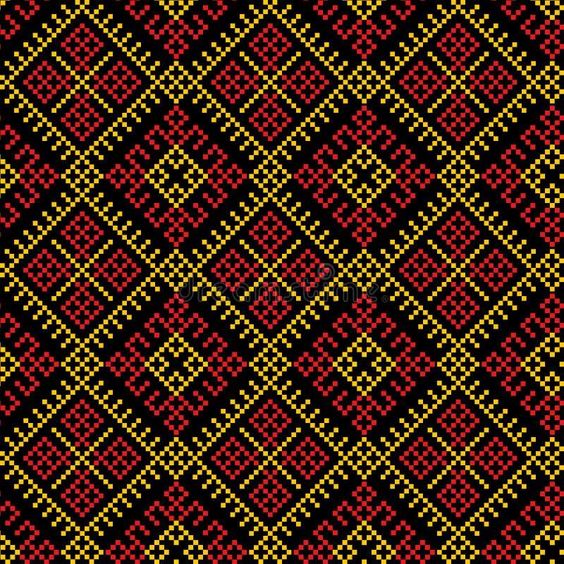 Этническая безшовная предпосылка картины, текстуры иллюстрации вектора традиционные в красной, оранжевом, желтой и черной иллюстрация штока