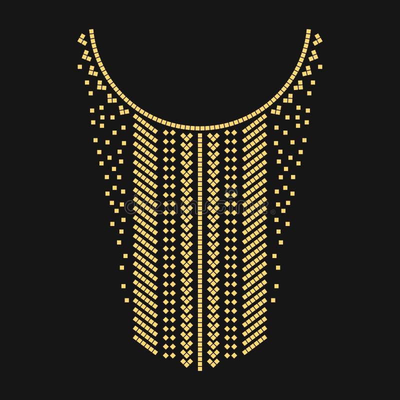 Этническая геометрическая линия вышивка шеи Украшение для одежд бесплатная иллюстрация