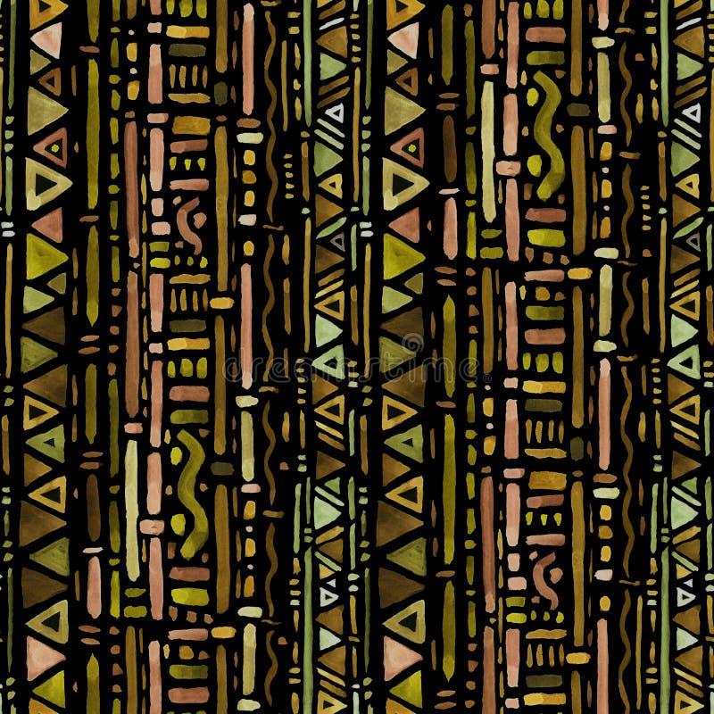этническая картина акварель предпосылки безшовная иллюстрация вектора