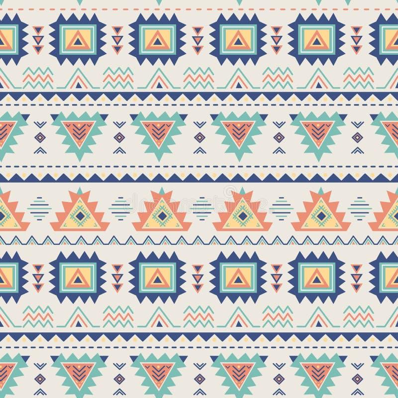 этническая картина безшовная Ацтекская геометрическая текстура в векторе иллюстрация вектора
