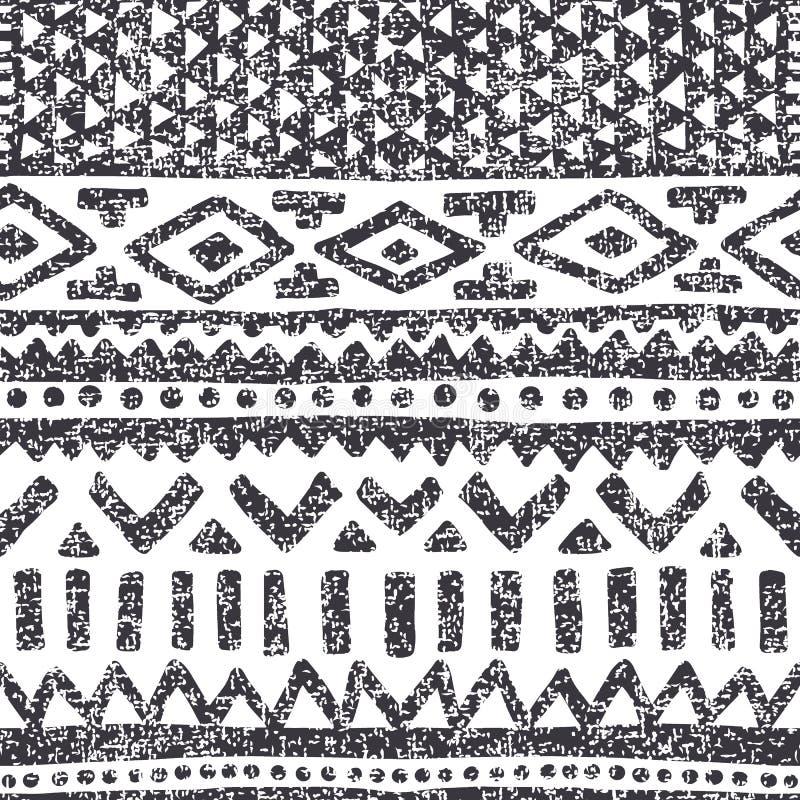 этническая картина безшовная Геометрический сер-белый орнамент Ручная работа бесплатная иллюстрация