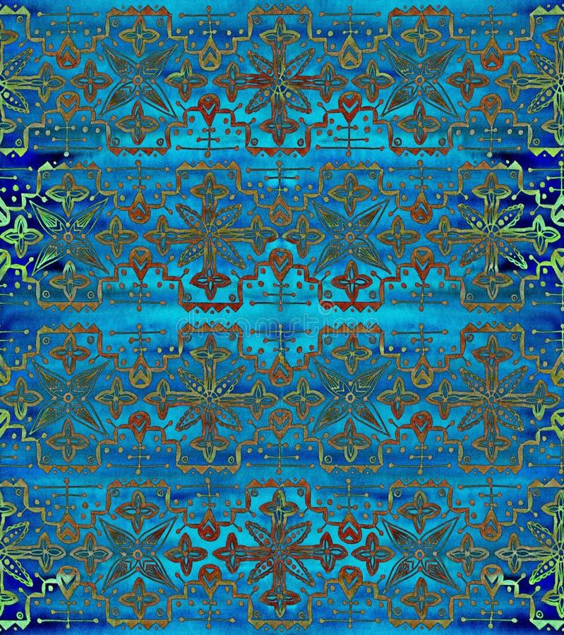 этническая картина безшовная Орнамент сини Boho повторять предпосылки иллюстрация вектора