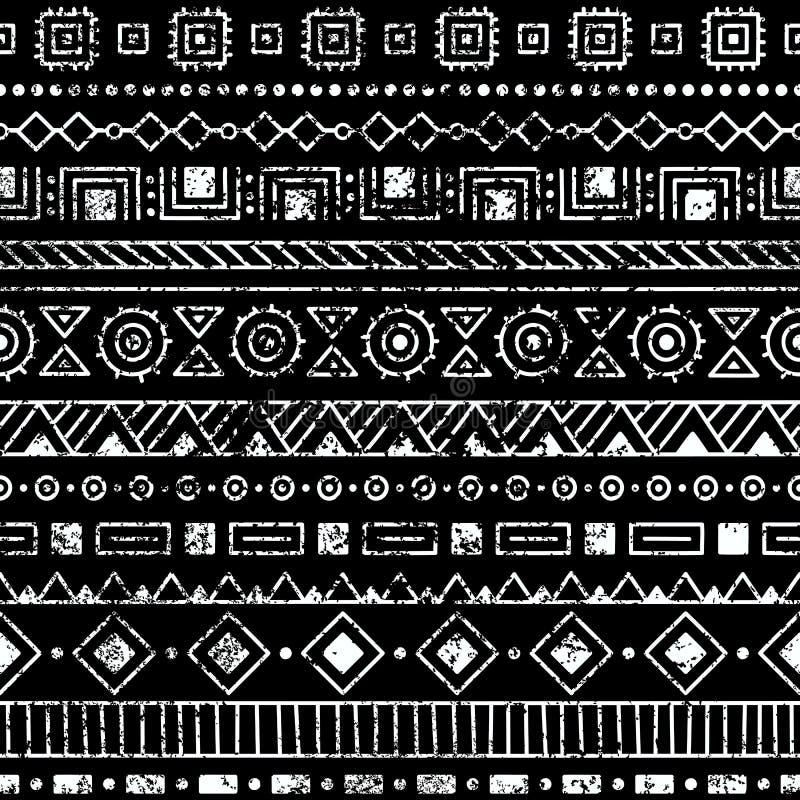 этническая картина безшовная Племенные и ацтекские мотивы Текстура Grunge иллюстрация штока