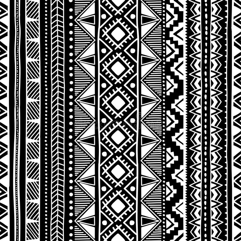 этническая картина безшовная Черно-белый геометрический орнамент Pri бесплатная иллюстрация