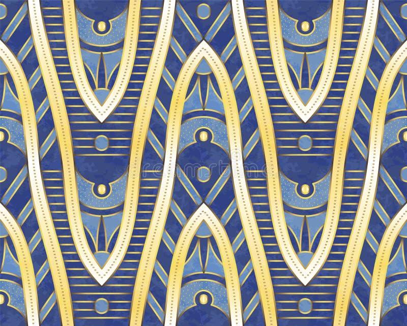 этническая картина Золотистые формы конструкция этническая Предпосылка вектора бесплатная иллюстрация