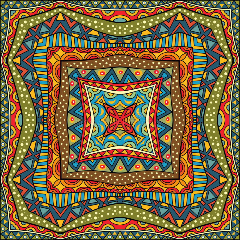 Этническая квадратная предпосылка иллюстрация вектора