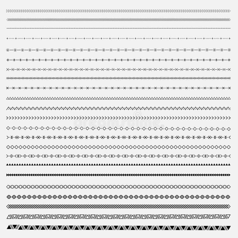 Этническая линия комплект границы и scribble битника конструирует элемент бесплатная иллюстрация