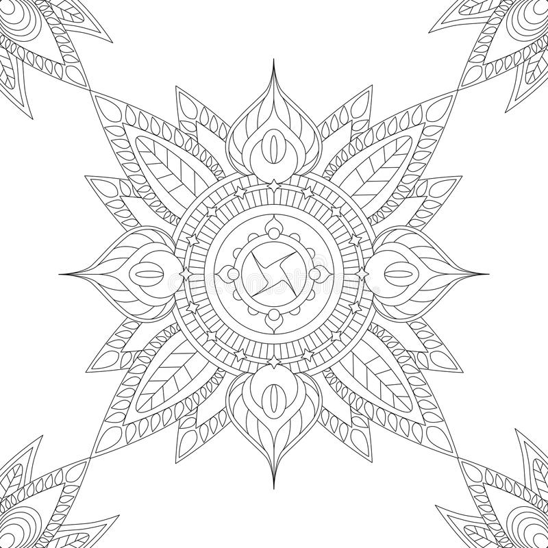 Этническая мандала с флористическими элементами и листьями, иллюстрацией для красить иллюстрация штока