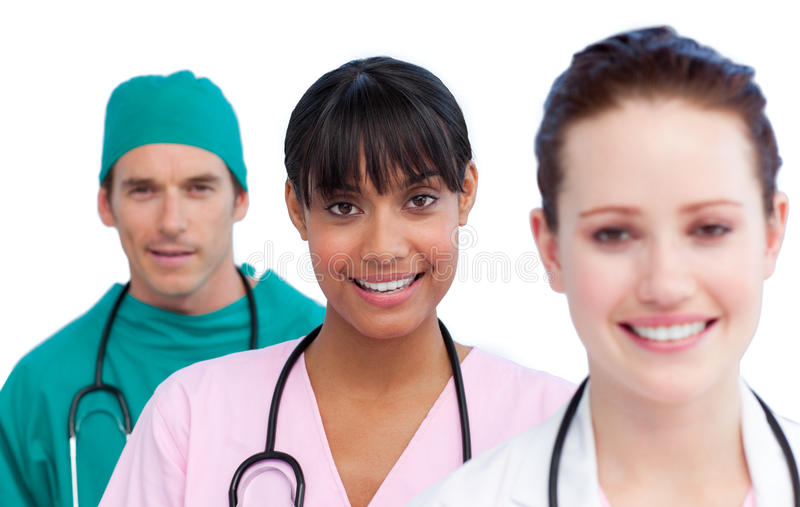 этническая медицинская multi команда представления стоковые изображения