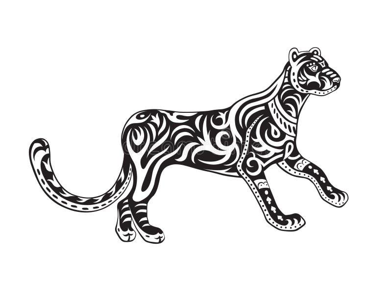 Этническая орнаментированная пантера иллюстрация вектора