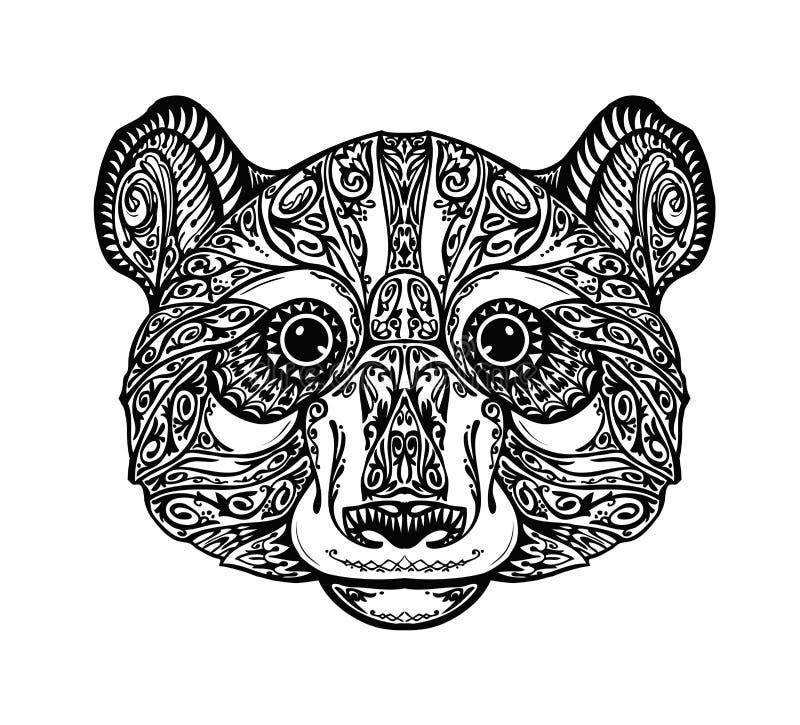 Этническая орнаментированная панда, медведь также вектор иллюстрации притяжки corel иллюстрация вектора