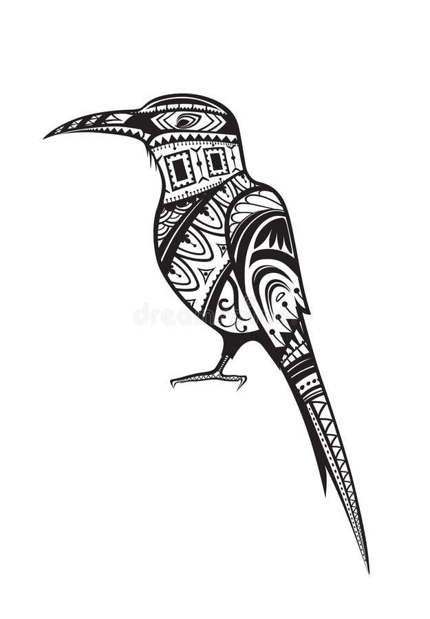 Этническая орнаментированная птица иллюстрация штока