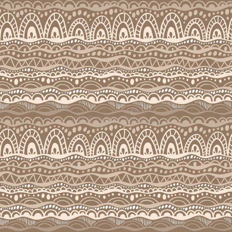 Этническая племенная безшовная картина Вручите вычерченную геометрическую предпосылку орнамента в цветах коричневого и бежевого Т бесплатная иллюстрация