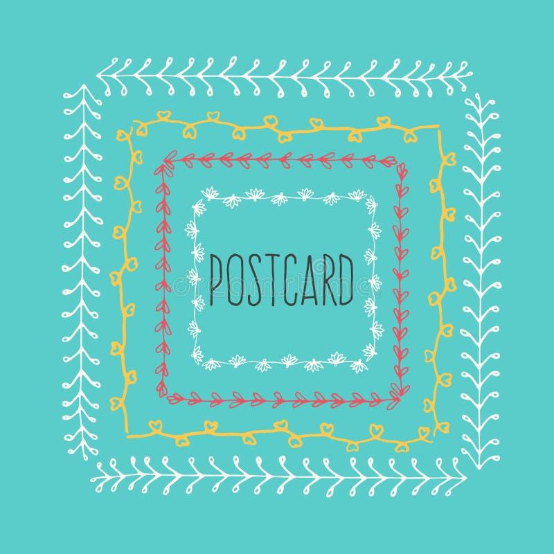 Этническая предпосылка открытки с линией нарисованной рукой границей бесплатная иллюстрация