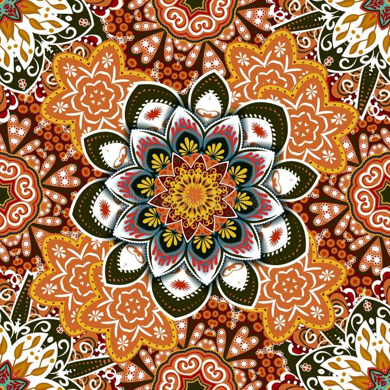 Этническая флористическая безшовная картина с мандалами бесплатная иллюстрация