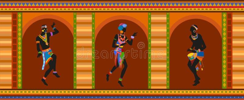 Этнические люди африканца танца иллюстрация вектора